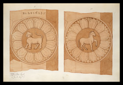 Two drawings of sculpture on the stupa rail at Bodhgaya (Bihar), made by Kittoe during his investigation of the site. January 1847. 5